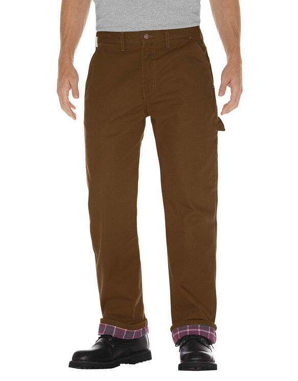 Relaxed Straight Fit Flannel-Lined Carpenter Duck Jeans - RINSED TIMBER (RTB)