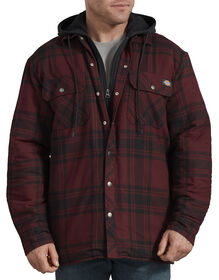 Relaxed Fit Icon Hooded Quilted Flannel Shirt Jacket - Dark Port Black Plaid (PBP)