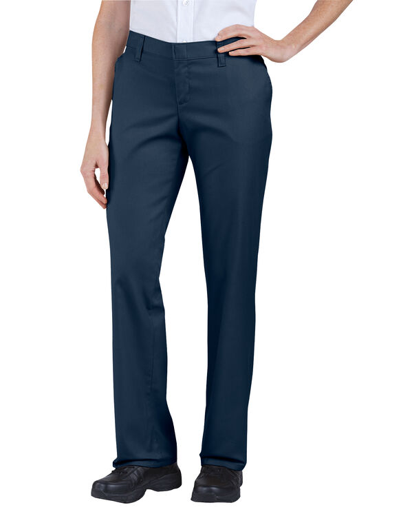 Women's Premium Relaxed Straight Flat Front Pants - Dark Navy (DN)