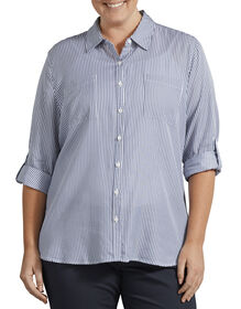 Women's Plus Size Long Sleeve Button-Up Shirt - Rinsed Blue/White Stripe (RB2)