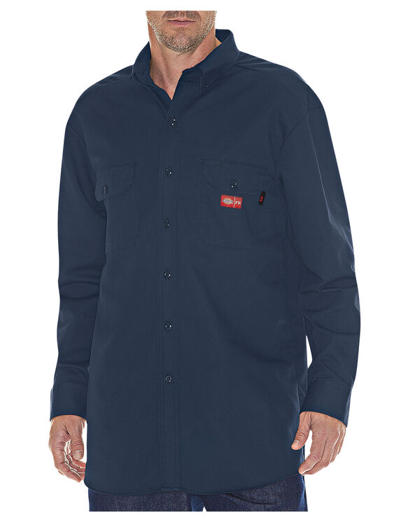 Flame-Resistant Long Sleeve Twill Button-Down Shirt - Navy Blue (NV)