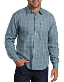 Dickies X-Series Modern Fit Long Sleeve Yarn Dyed Plaid Shirt - Blue Khaki Plaid (RXKK)