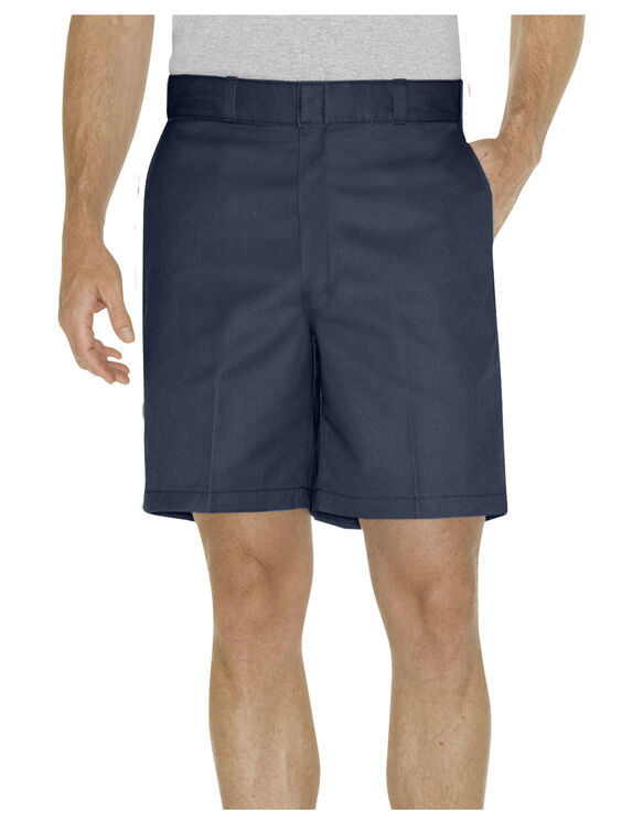"""8"""" Relaxed Fit Traditional Flat Front Shorts - Dark Navy (DN)"""