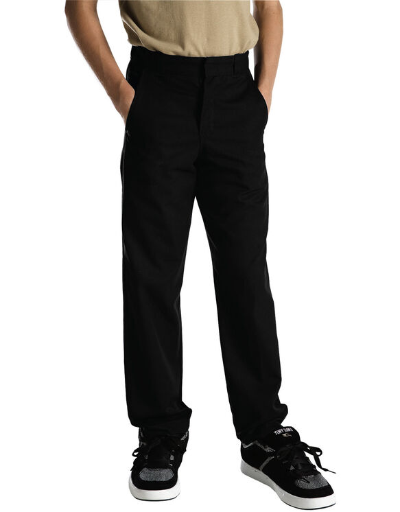 Young Adult Sized Classic Fit Straight Leg Flat Front Pants - Black (BK)