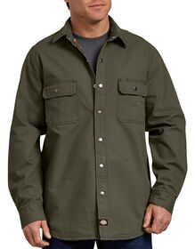 Relaxed Fit Flannel Lined Shirt - RINSED MOSS GREEN (RMS)