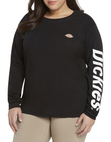 Dickies Girl Juniors' Plus Size Logo Long Sleeve T-Shirt - Black/White (BKW)