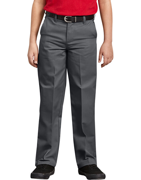 Boys' Classic Fit Straight Leg Flat Front Pants, 4-20 - Charcoal Gray (CH)