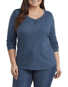 Women's Plus Size Long Sleeve Henley Shirt - Dark Denim Blue (DMD)