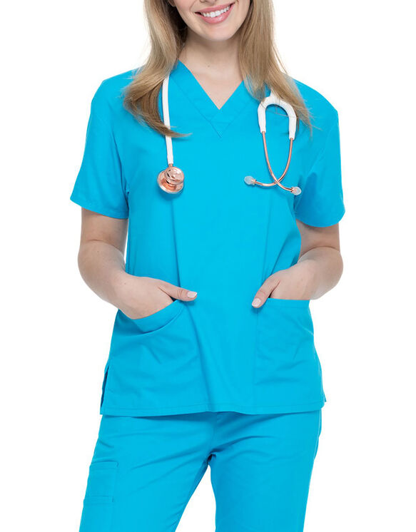 Women's EDS Signature V-Neck Scrub Top - Out Of The Blue (OTB)