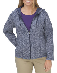 Women's Sweater Hoodie (Plus) - DARK DENIM/WHITE HEATHER (DMWH)