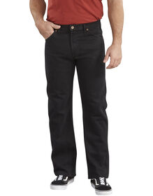 Regular Straight Fit 6-Pocket Denim Jeans - RINSED OVERDYED BLACK (RBB)