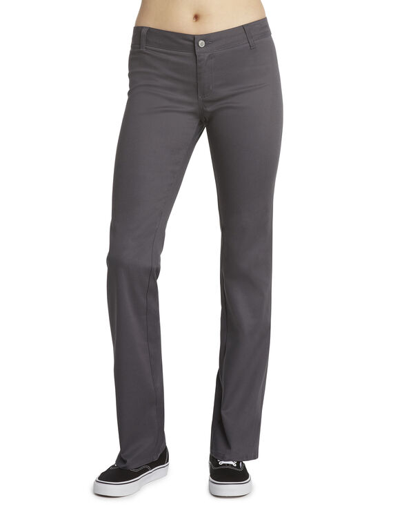 Dickies Girl Juniors' Worker Bootcut Pants - Charcoal Gray (CH)