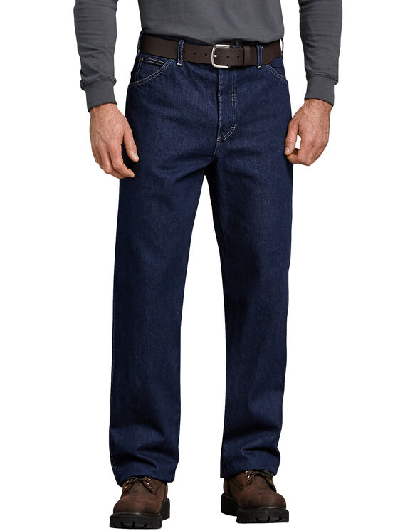 Relaxed Straight Fit 5-Pocket Denim Jeans - RINSED INDIGO BLUE (RNB)