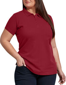 Women's Plus Size Solid Piqué Polo Shirt - Cherry Red (HD)