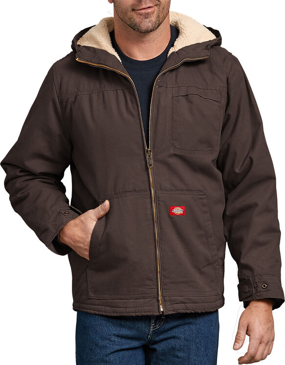Duck Sherpa Lined Hooded Jacket - RINSED CHOCOLATE BROWN (RCB)