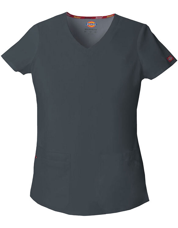 Women's EDS Signature V-Neck Scrub Top - Pewter Gray (PEW)