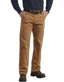 Relaxed Fit Straight Leg Double Front Duck Work Pants - RINSED BROWN DUCK (RBD)