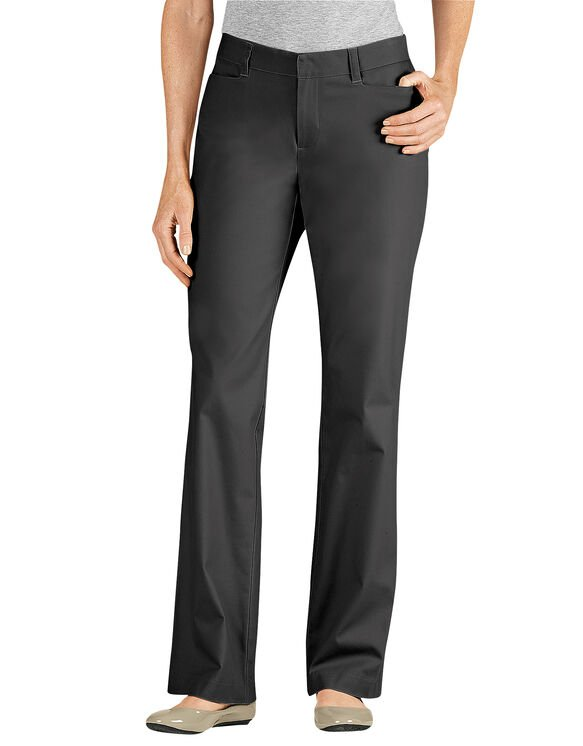 Women's Curvy Fit Straight Leg Stretch Twill Pants - BLACK (BK)