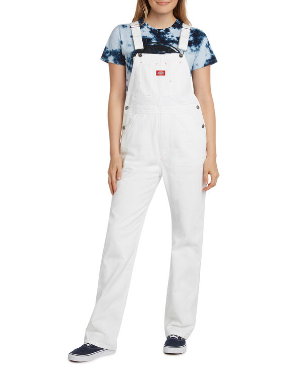 Dickies Girl Juniors' Straight Leg Relaxed Fit Overalls - White (WH)