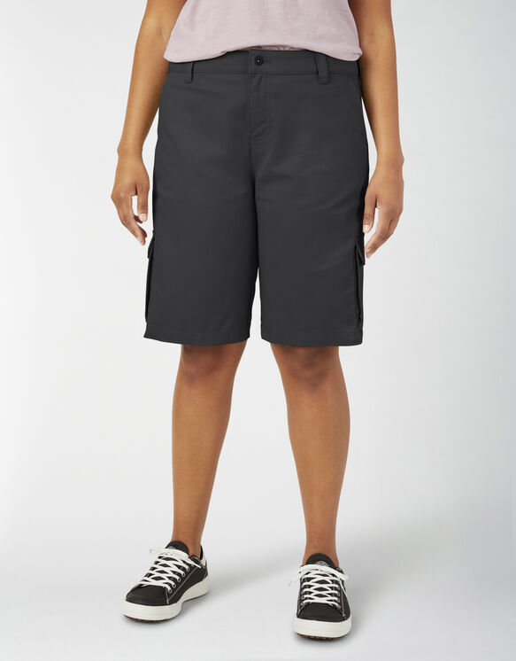 "Women's Plus 11"" Stretch Cargo Relaxed Fit Shorts - Black (BK)"