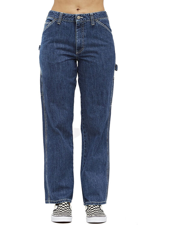 Dickies Girl Juniors' Relaxed Fit Carpenter Jeans - Stonewashed Indigo Blue (SNB)
