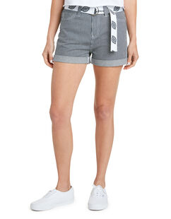 Dickies Girl Juniors' Hickory Stripe 5-Pocket Rolled Cuff Shorts - Blue White Hickory Stripe (HS)