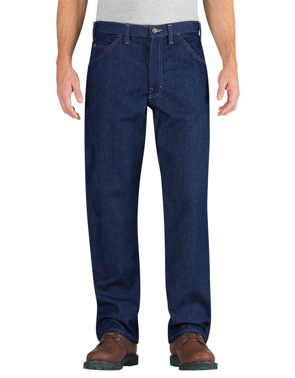 Flame-Resistant Relaxed Fit Straight Leg Carpenter Jeans - RINSED INDIGO BLUE (RNB)