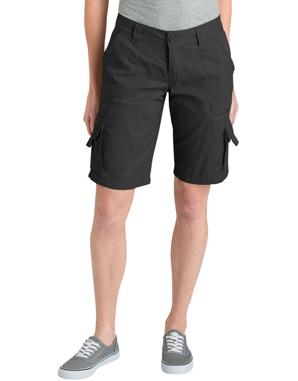 "Women's 11"" Relaxed Fit Cotton Cargo Shorts - Rinsed Black (RBK)"