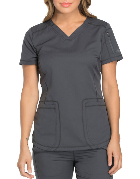 Women's Dynamix V-Neck Scrub Top with Patch Pockets - Pewter Gray (PEW)