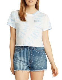 Dickies Girl Juniors' Short Sleeve Cropped Graphic Tie-Dye T-Shirt - Light Blue (LB)