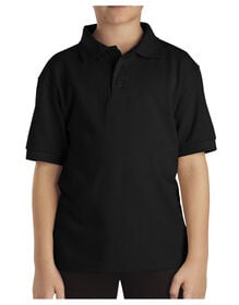 Kids' Short Sleeve Pique Polo Shirt, 4-7 - Black (BK)