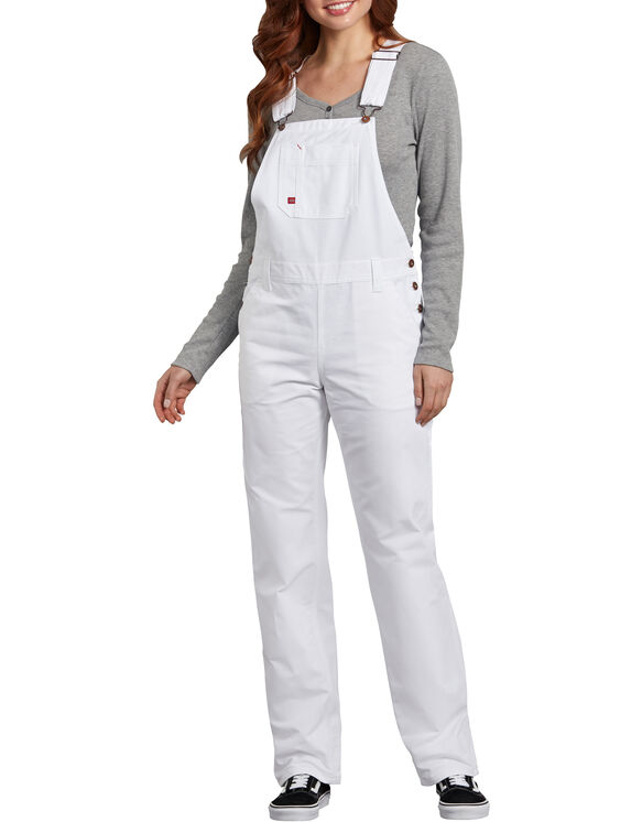 Women's Relaxed Fit Straight Leg Bib Overalls - White (WH)