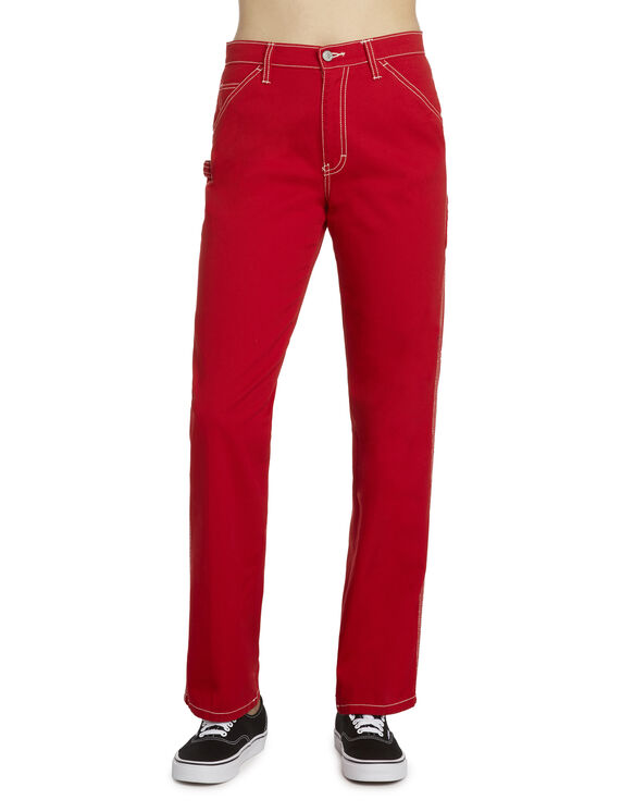 Dickies Girl Juniors' Relaxed Fit Carpenter Pants - Red (RD)