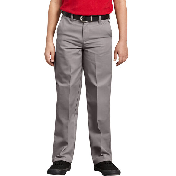 Boys' Classic Fit Straight Leg Flat Front Pants, 4-20 - Silver (SV)