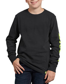 Kids' Long Sleeve Branded Graphic T-Shirt - Black (ABK)