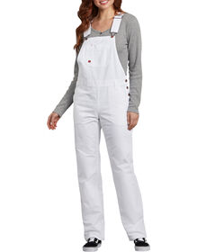 Women's Relaxed Fit Bib Overalls - White (WH)