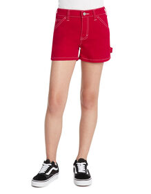 Girls' Straight Fit Carpenter Shorts - Red (RD)