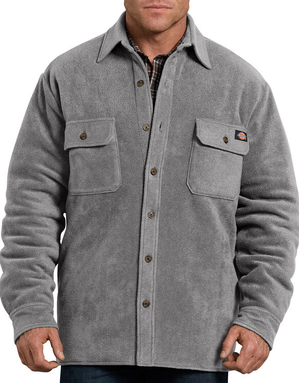 Relaxed Fit Icon Micro Fleece Quilted Shirt Jacket - Smoke Gray (SM)