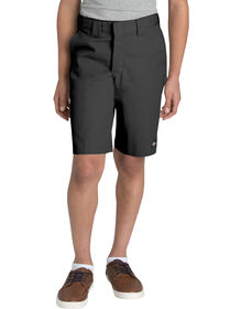 Boys' FLEX Flat Front Shorts, 8-20 Husky - Black (BK)
