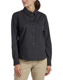 Women's Long Sleeve Poplin Stretch Work Shirt - Black (BK)