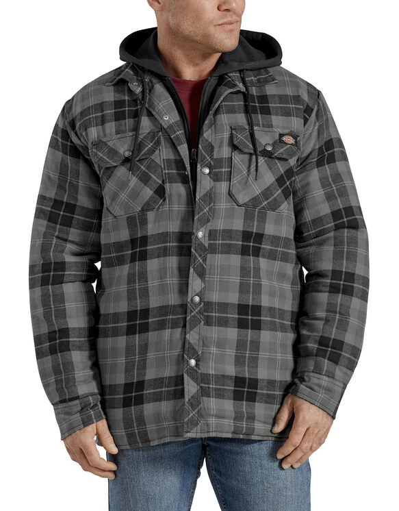 Relaxed Fit Icon Hooded Quilted Shirt Jacket - Slate Graphite Plaid (SGP)