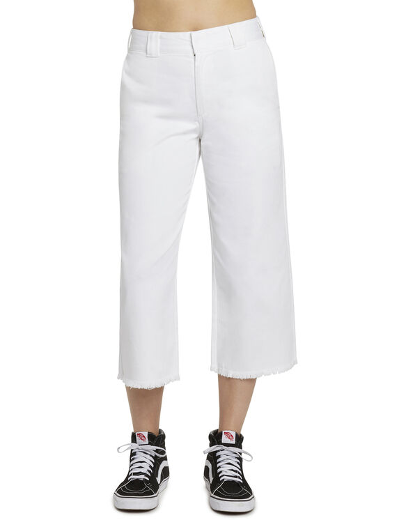 "Dickies Girl Juniors' Freyed Hem 23"" High Rise Work Cropped Pants - White (WHT)"