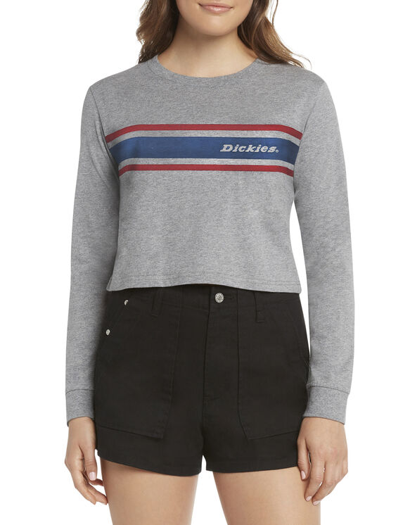Dickies Girl Juniors' Long Sleeve Cropped Vintage Striped T-Shirt - Heather Gray (HG)