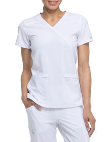Women's EDS Essentials Mock Wrap Scrub Top - White (DWH)
