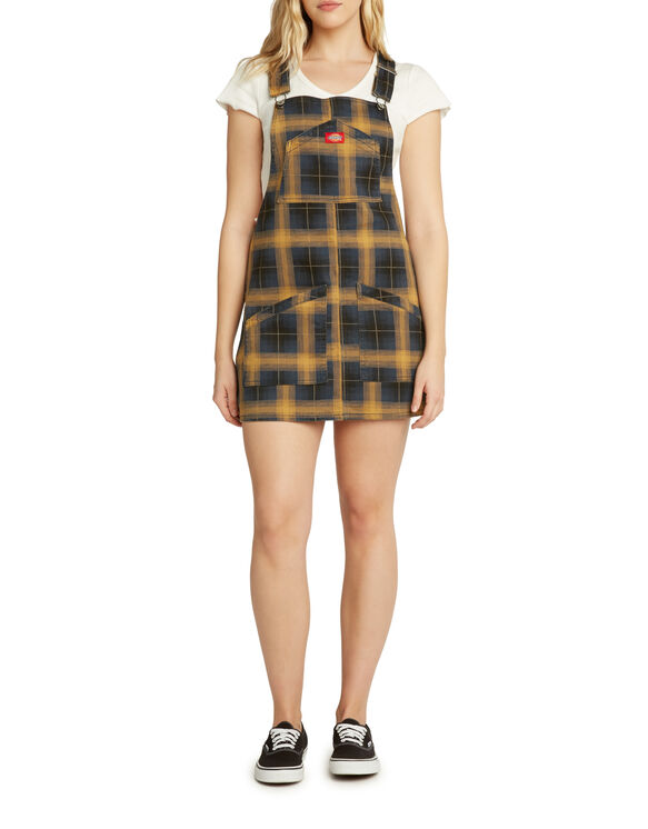Dickies Girl Junior's Plaid Overall Jumper Dress - BROWN DUCK BLACK PLAID (BKY)