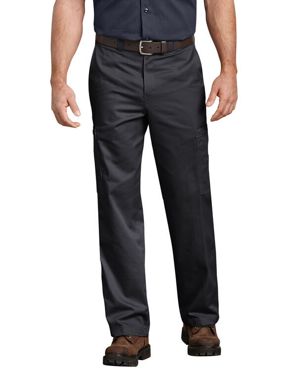 Industrial Relaxed Fit Cotton Cargo Pants - Black (BK)