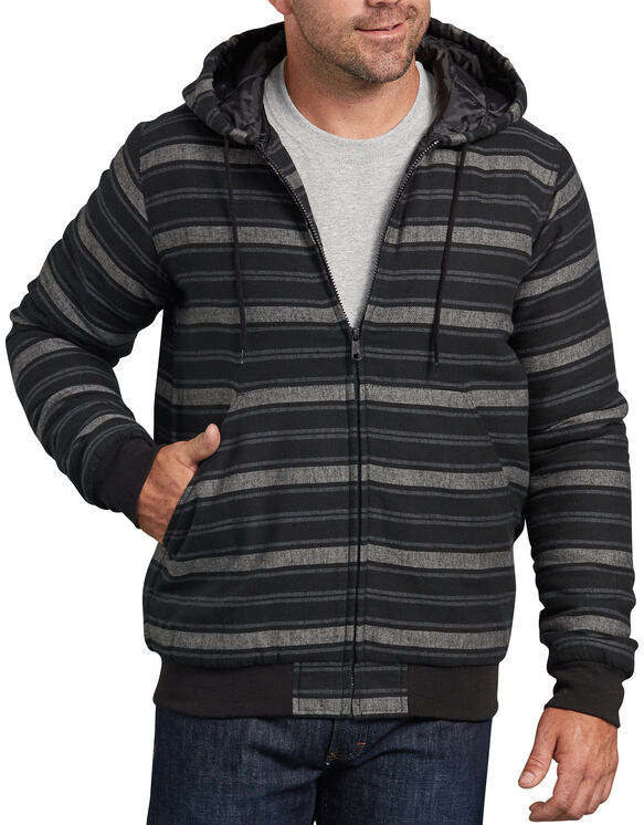 Dickies X-Series Modern Fit Quilted Bomber Shirt Jacket - Black Gray Stripe (ACS)