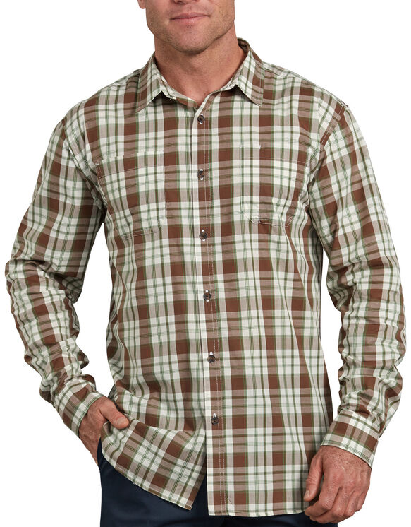 Relaxed Fit Icon Long Sleeve Rinsed Plaid Shirt - Brown Green Plaid (RWOG)