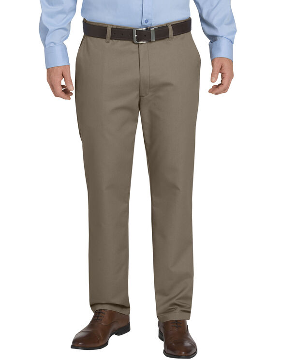 FLEX Regular Fit Tapered Leg Flat Front Sorona® Pants - Pebble Brown (RNP)
