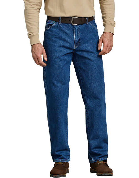 Relaxed Straight Fit 5-Pocket Denim Jeans - Stonewashed Indigo Blue (SNB)
